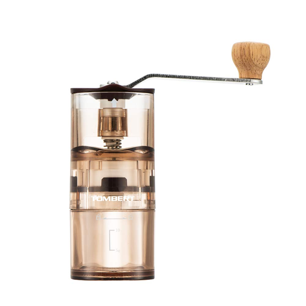 Manual Hand Coffee Grinder Mini Transparent With Adjustable Conical Ceramic Burr Mill For Camping Traveling Precision Brewing Tombert