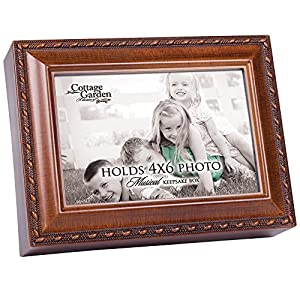 Cottage Garden Personalize with Photo Woodgrain Rope Trim Jewelry Music Box Plays You are My Sunshine