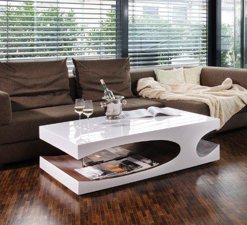 Couch-Tisch weiß/walnuss Hochglanz aus MDF 120x70cm recht-eckig | Julia | Moderner Wohnzimmer-Tisch weiss/walnuss mit seitlicher Aussparung 120cm x 70cm