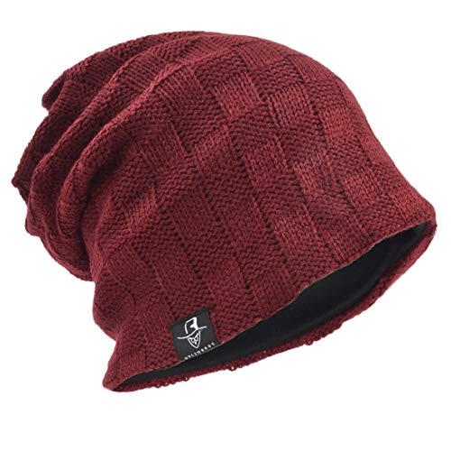 Men's Slouch Knitted Beanie Hat Crochet Stripe Winter Cap Oversized B318 ()