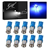 Grandview 350 Lumens Blue T10 194 168 921 W5W 7014 10-SMD LED Interior Lights Bulb Car Replacement Lights Truck License Plate Front Rear Sidemarker Light Dome Map LED Bulbs 12V DC 10-Pack
