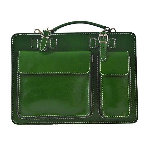 CTM Borsa da lavoro, Portadocumenti, Organizer Uomo Donna in vera pelle made in Italy D7006 - 35x25x12 Cm Verde