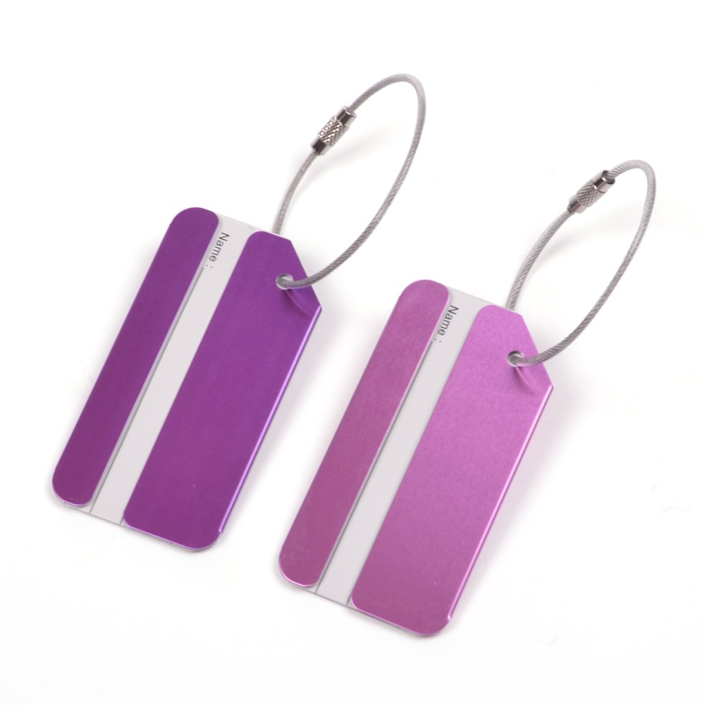 KLOUD City 2 pcs Metal Travel Accessories Square-shape Luggage tag/Identifier with Name Card (Purple & Pink) KCKT-0015
