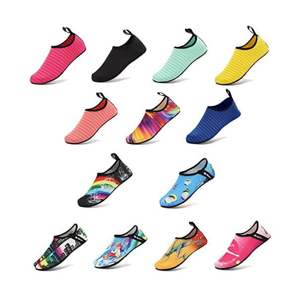 VIFUUR Water Sports Shoes Barefoot Quick-dry Aqua Yoga Socks Slip-on for Men Women Kids Colorful-40/41