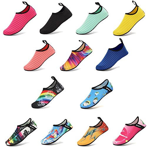 VIFUUR Water Sports Shoes Barefoot Quick-Dry Aqua Yoga Socks Slip-on for Men Women Kids Black-44/45 by VIFUUR (Image #1)