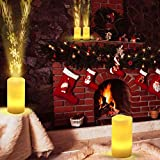 LED Decor Light,Flameless Flickering Christmas with Remote Control,Long Lasting Battery Operated LED Projection Candle,for Seasonal &Festival Celebration (A)
