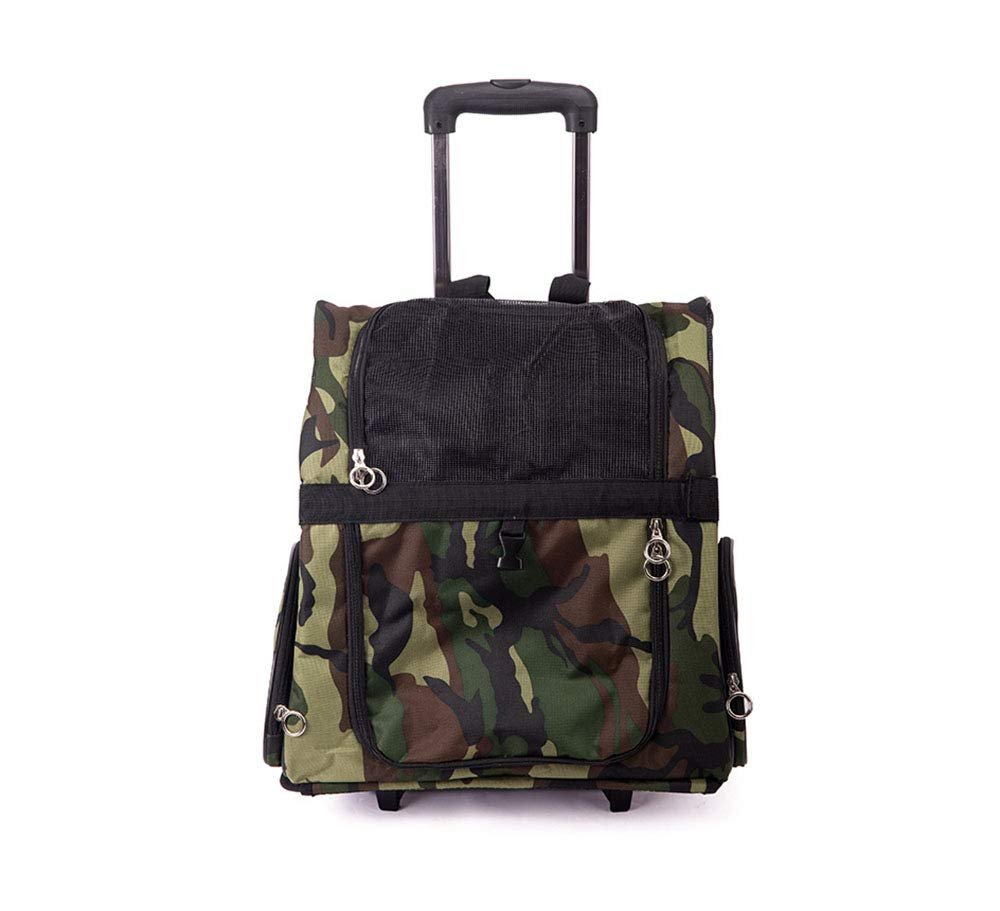 A Pet Trolley Case, Multifunctional Breathable Lightweight Pet Travel Chest Backpack Roller Trolley, Pet Supplies,A