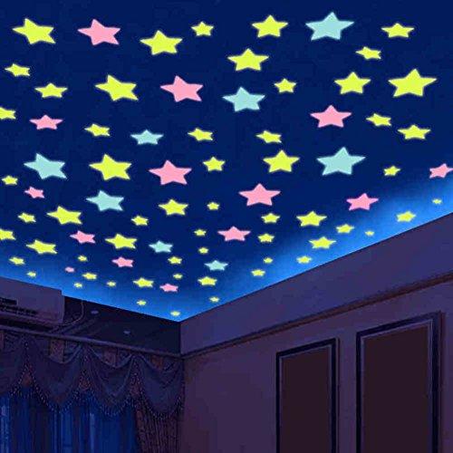 Estrellas luminosas tridimensionales 3d,Uno mismo - pegatinas adhesivo techo Pegatinas luminosas de dormitorio de niños-A...