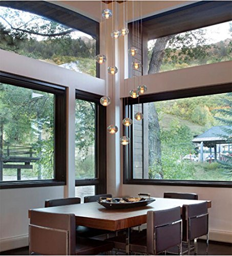 Linght Modern Rain Drop Crystal Chandelier-14 Lights Meteor Shower Magic Ball DIY Ceiling Light Fixtures Diameter 15 Inch Canopy