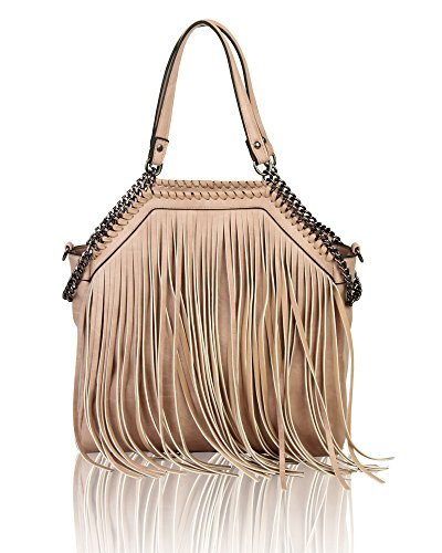 Women's Fringed Fashion Canvas Tote Hobo Shopper Handbag Crossbody Shoulder Bag Pink