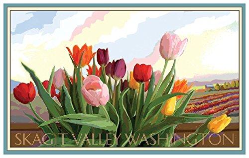 Skagit Valley Washington Tulip Field Travel Art Print Poster by Joanne Kollman (18