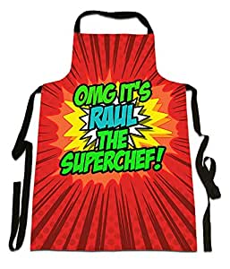 Fresh Publishing Ltd 'OMG it de Raul la Superchef.', personalizable nombre, Funny Comic Art estilo diseño, delantal de lona, gran calidad, tamaño 25en X 35en aproximadamente