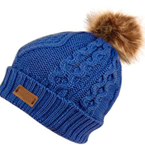 (ANGELA & WILLIAM Women's Winter Fleece Lined Cable Knitted Pom Pom Beanie Hat (Royal) )