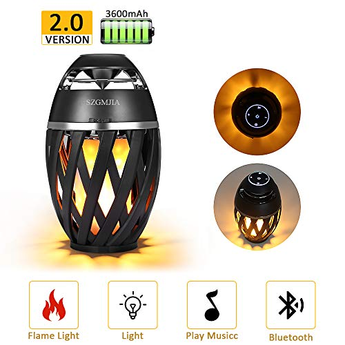 LEDMEI Led Flame Speaker, Flame Torch Atmosphere Speaker Bluetooth 4.2 Wireless Portable Outdoor HD Audio Waterproof Speaker with LED Flickers Warm Night Lights for iPhone/iPad/Android