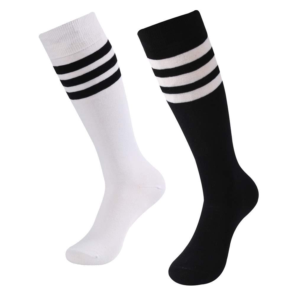 Knee High Socks, SUTTOS Women's Girls Stripe Tube Dresses Over The Knee Thigh High Stockings Cosplay Socks Football Soccer Socks Back to School Gift Socks 2 Pairs-White&Black+Stripe by SUTTOS