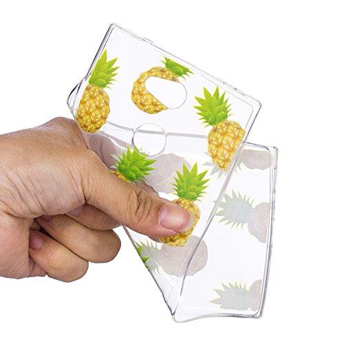 Hülle für Sony Xperia L2 Transparent Weiche Silikon Malerei Muster, Herzzer Backcover Kratzfeste Rutschfest Flexibel Gel TPU Bumper Schale Case Cover Tasche Schutzhülle für Sony Xperia L2 - Rose Blume Pineapple Frucht