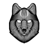 LBZE Sound Reactive LED Mask Sound Activated Monster Mask Festival,Party,Halloween,Carnivals,Dance Ball,Masquerades,Cosplay,DJ (Wolf)