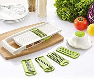 Multi-function Mandoline Vegetable Slicer & Grater Kitchen Set 5 in 1,Green