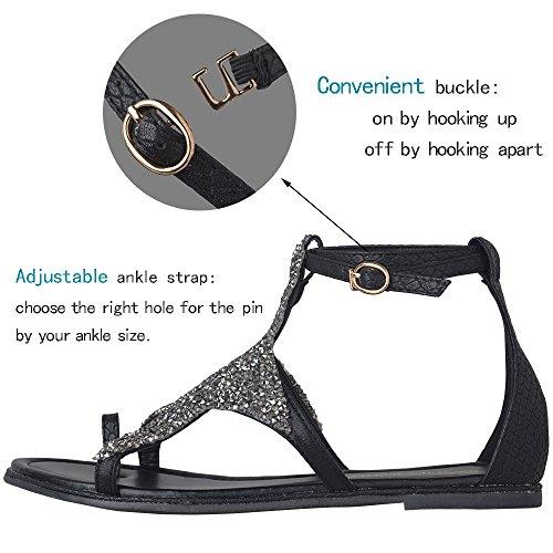 Yaheeda Gladiator Roman Strap Star Women Slingback Rhinestone Crystal Ankel Sandals Bling Flat Casual Shoes Strap CTrYC4