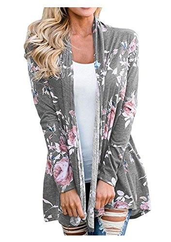 AuntTaylor Womens Floral Print Kimono Long Sleeve Soft Lightweight Cardigans
