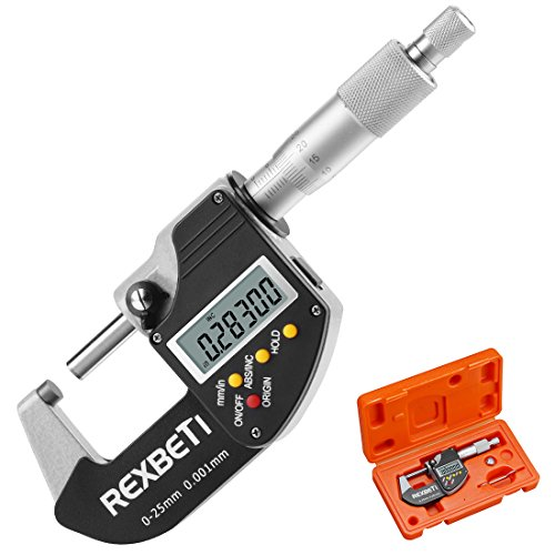 Digital Micrometer, 0-1 Micrometers Thickness gauge, Inch Metric Conversion, 0.00015