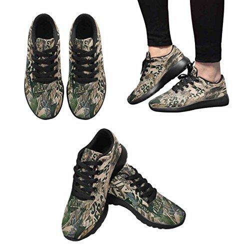 Interestprint Femmes Jogging Running Sneaker Léger Aller Facile Marche Confort Sport Chaussures De Course Grungy Journal Texture Multi 1