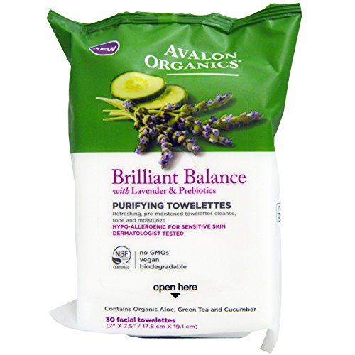 Avalon Organics, Brillilant Balance, Purifying Towelettes, With Lavender & Prebiotics, 30 Facial Towelettes - 3PC