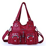Angel Barcelo 3 Top Zippers Multi Pockets Purses and Handbags Leather Shoulder Bags Backpack Women (Red)