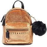 Dream Control Ultra Soft Velvet w Pom Pom Mini Backpack Shoulder Handbag Mustard