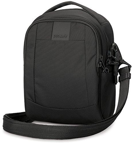 Pacsafe Metrosafe LS100 3 Liter Anti Theft Shoulder Bag - Fits 7 inch Tablet with RFID Blocking Pocket and Lockable Zippers for Women & Men (Black)