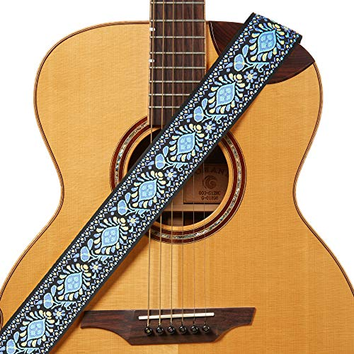 Amumu Hippie Embroidery Guitar Strap Blue Cotton for Acoustic, Electric and Bass Guitars with Strap Blocks & Headstock Strap Tie - 2