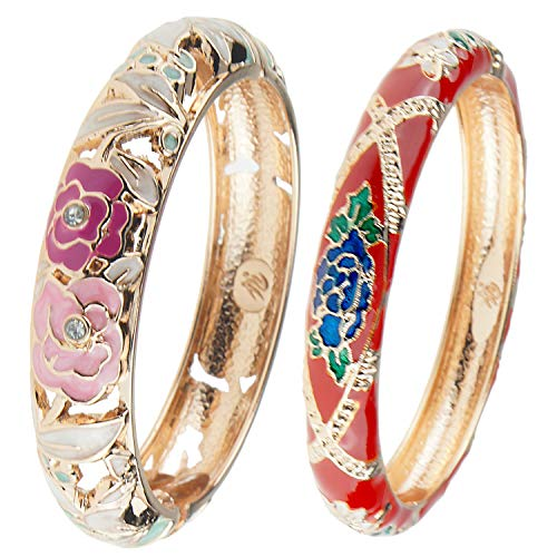UJOY Vintage Cloisonne Bracelet Beautiful Flower Enamel Hinge Gold Plated Rose Bangles Jewelry for Women's Gifts 88A10 Pink red