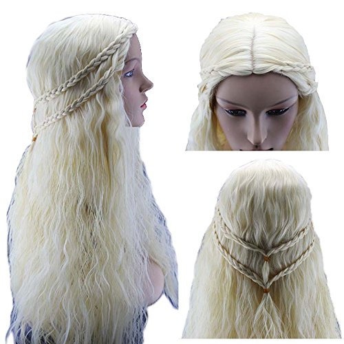 Amazon.com: Eastmermaid Daenerys Targaryen Dragon Princess Light Gold Wig Game of Thrones Braids cosplay wigs Costume: Beauty