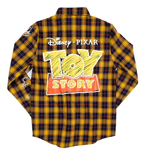 Cakeworthy Disney Pixar Toy Story Logo Flannel Shirt from 90s Movie Tees Yellow