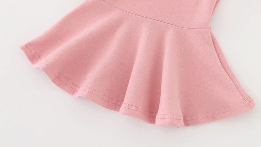 RNTOP/_Clothes Baby Girls Candy Color Long Sleeve O-Neck Solid Princess Casual Toddler Kids Dress 1-4T