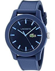 Lacoste Mens 2010765 Lacoste.12.12 Blue Resin Watch with Textured Silicone Band