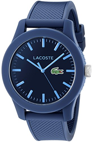 Lacoste Men's 2010765 Lacoste.12.12 Blue Resin Watch with Textured Silicone Band (Lacoste Watch Band)