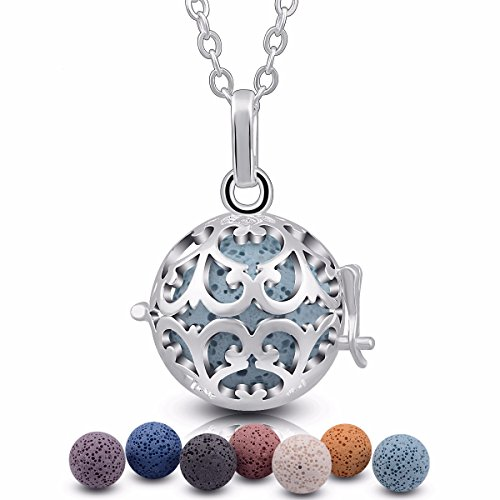 Iris Fragrance Oil - EUDORA Iris Lava Stone Aromatherapy Essential Oil Diffuser Necklace Pendant 18mm Locket, 24