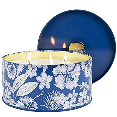 LA JOLIE MUSE Christmas Candle Large, 3 Wick Big Scented Candle, Sandalwood Winter Cotton, 14Oz