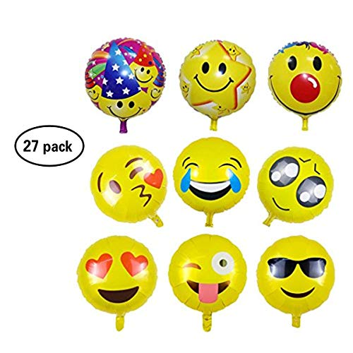 Caramella Bubble 27 Pack Emoji Balloons | 18'' Smiley Face Mylar Balloons | Reusable Emoticon Party Supplies Happy Birthday,Wedding