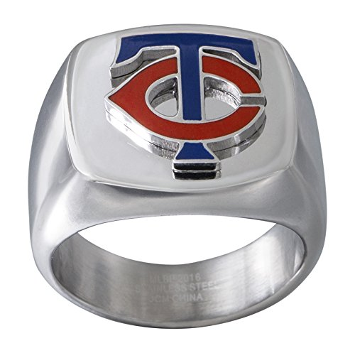 MLB Minnesota Twins Men's Ring, Blue/Red/Silver, Size 10