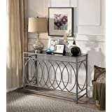 Silver Finish Metal Black Tempered Glass Circle Design Console Sofa Table