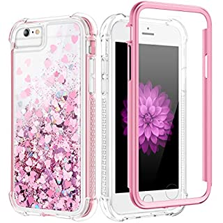 Caka Glitter Case for iPhone 6S Plus, iPhone 6 Plus 6S Plus 7 Plus 8 Plus Glitter Case Bling Liquid Women Girls Full Body Protective Love Case for iPhone 6 Plus 6S Plus 7 Plus 8 Plus (Rose Gold)