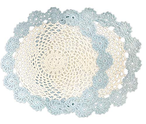 Fennco Styles Handmade Two Tone Floral Crochet Tray Cloth Doily, 9-inch Round, 2 Pieces, 7 Colors (Baby Blue)