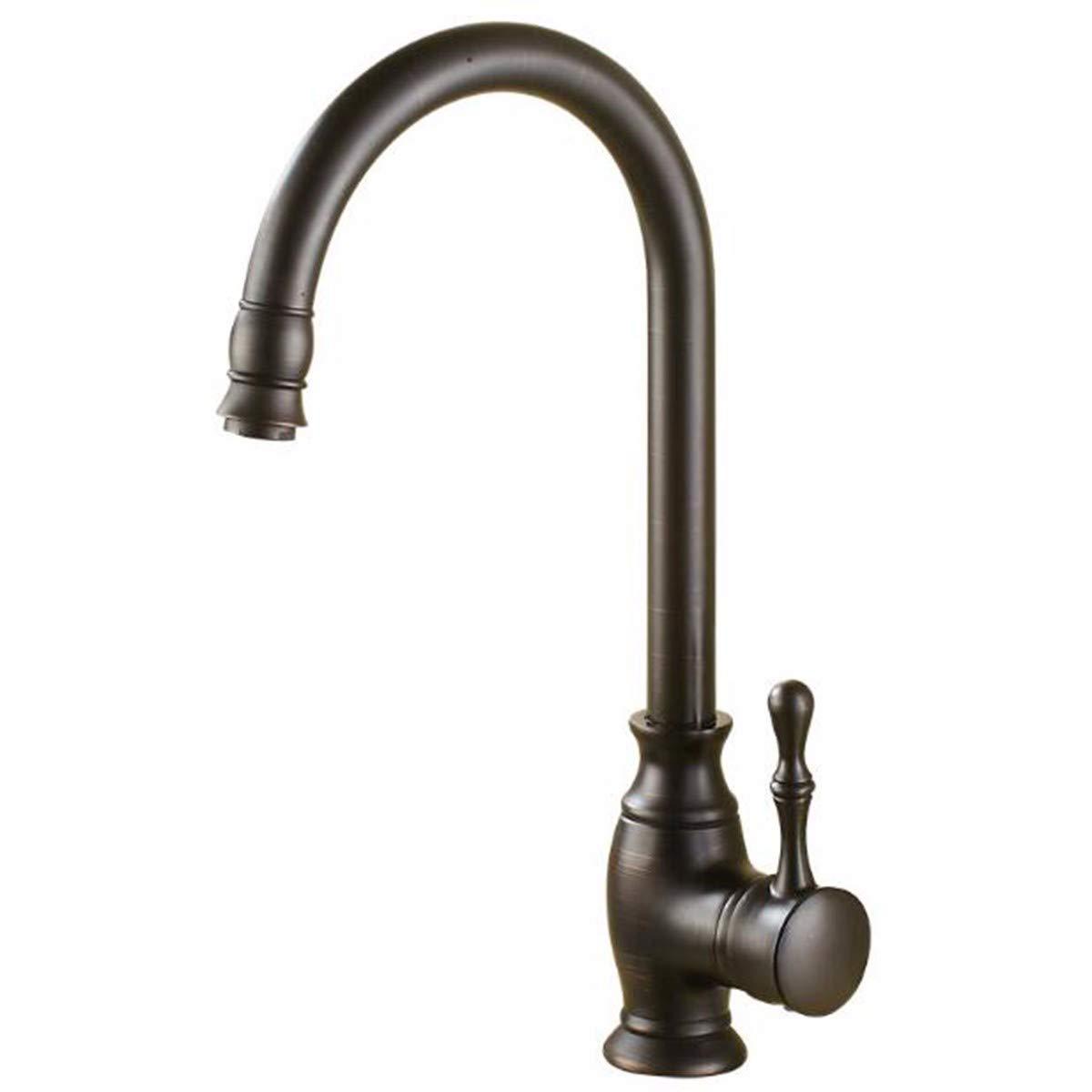 Kitchen faucet Kitchen Sink Black Copper Faucet All Copper European Cold Water Heater Black Imitation Antique Basin Pots.