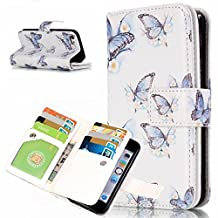 iPhone 5S Wallet Case,YiLin [9 Card Slots] - [Butterfly in the wind][Travel Wallet][Slim][Credit Card Holder] Protective Shell Shockproof PU Leather Cover Case for Apple iPhone 5 5S