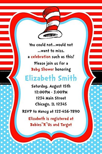 Dr. Seuss Baby Shower Invitations, Cat in the Hat Baby Shower Invitations, Printed Personalized Invitations (Red Invitations Hat)