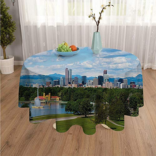 SATVSHOP Round Table-45Inch-for Birthday Party, Graduation Party.Urban City Park at Denver Colorado Downtown Tree and Architecture Sunny Panorama Sky Blue Fern Green.]()