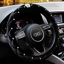 "Crown Black Winter Short Plush Car Steering Wheel Cover Crystal Rhinestone Auto Fur Steering-Wheel Covers Cases Universal Size 15"""