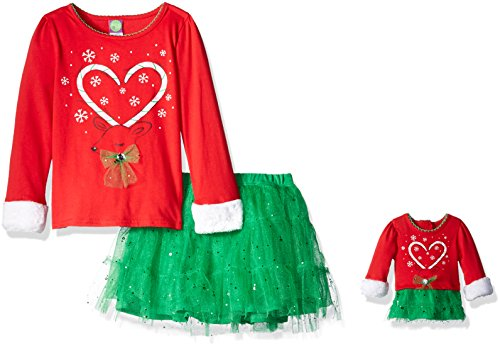 Dollie & Me Little Girls' Knit Reindeer Shirt with Faux Fur Detail and Sparkle Tutu Skirt, Red/Green, (Candy Cane Outfit)